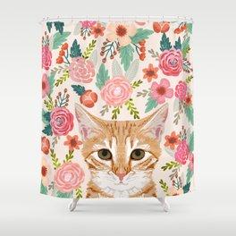 Tabby Cat florals cute spring garden kitten orange tabby cat lady funny girly cat art pet gifts  Shower Curtain