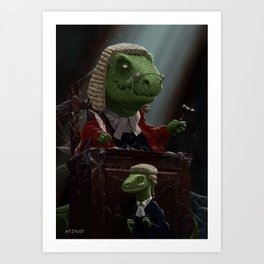 Dinosaur Judge in UK Court of Law Art Print