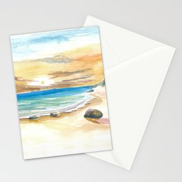 Romantic secluded Mustique Caribbean Beach Stationery Cards