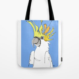 Yellow Crested Cockatoo in blue Tote Bag