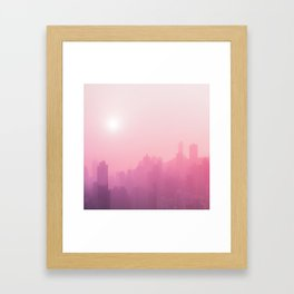Pink City Skyline Framed Art Print