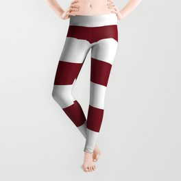 Deep Red Pear and White Wide Horizontal Cabana Tent Stripe Leggings