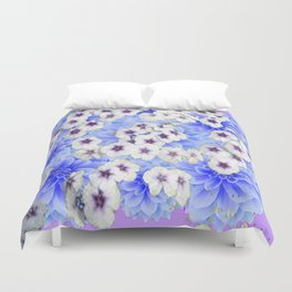 WHITE   FLORALS WITH BLUE FLOWERS Duvet Cover