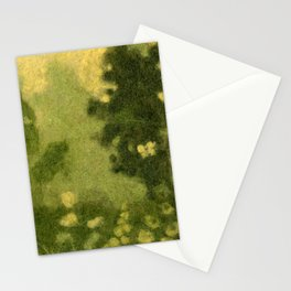 Summer Lawn, Fiber Felt Painting, Wool Texture, Yellow Green Stationery Cards