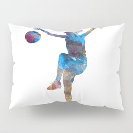 Woman soccer player 12 in watercolor Pillow Sham