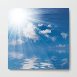 Ocean Clouds and Rays of Sun-  Sunny - White Clouds - Beach Metal Print