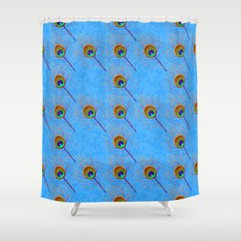 Peacock feather oriental ornament Shower Curtain