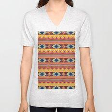 Navajo blanket pattern- orange Unisex V-Neck
