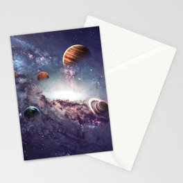 planets of the solar system galaxy Stationery Cards