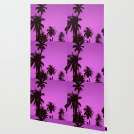 Tropical palm trees on blue pink Wallpaper