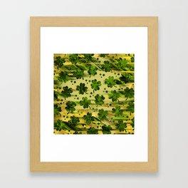 Irish Shamrock -Clover Abstract Gold and Green pattern Framed Art Print