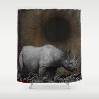 rhino Shower Curtains featuring RHINO by zinakorotkova