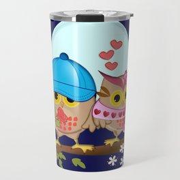 Blue moon Valentine's Owls Travel Mug