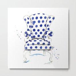Blue Polka Dot Chair Metal Print