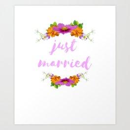 Just Married - Cool Flower Design Art Print