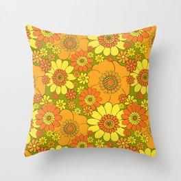 Pushing daisies orange with green base Throw Pillow