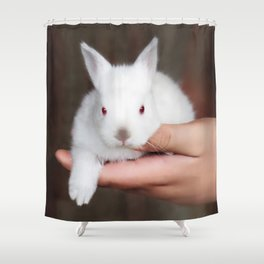 Bunny in hand Shower Curtain