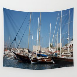 Traditional Turkish Gulets In Marmaris Harbour Wall Tapestry