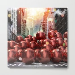Giant Red Ball Pit NYC Metal Print