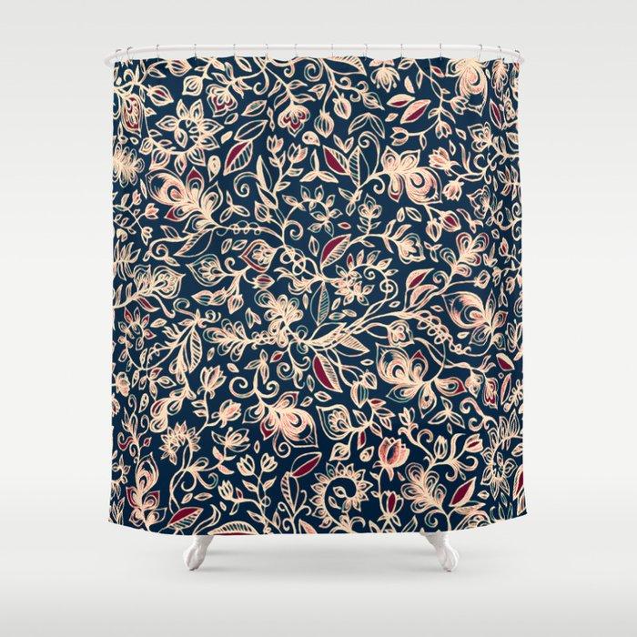 Navy Garden - floral doodle pattern in cream, dark red & blue Shower ...