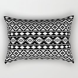 Aztec Essence Ptn III White on Black Rectangular Pillow