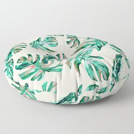 Tropical Palm Leaves Coral Greenery Floor Pillow
