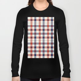 Plaid Red White And Blue Lumberjack Flannel Long Sleeve T-shirt
