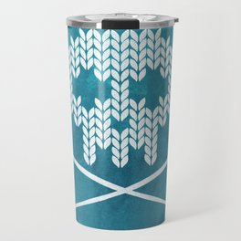 Knitted Skull (White on Blue) Travel Mug