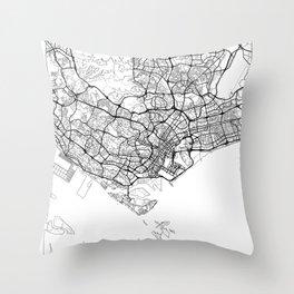 Singapore Map White Throw Pillow