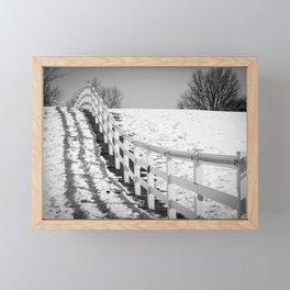Endless Fences Black & White Rural Landscape Photo #society6 #decor #buyart Framed Mini Art Print