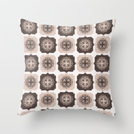 Star Quilt Folk Art Texture Hand Drawn Square Tiles Throw Pillow