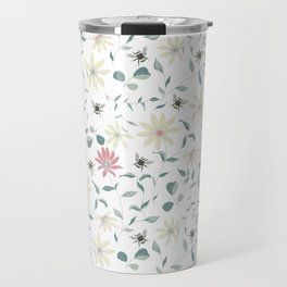 Floral Bee Print Travel Mug