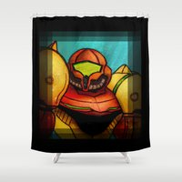 samus Shower Curtains featuring Samus Aran by Kiki Stardust