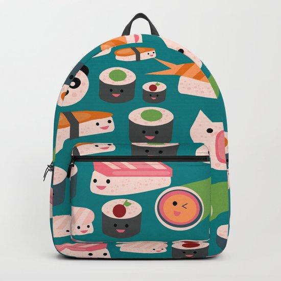 Kawaii sushi teal Backpack