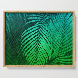 TROPICAL GREEN BLUE LEAVES Serving Tray