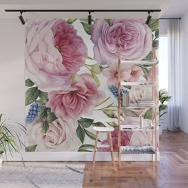 WATERCOLOR ROSES Wall Mural