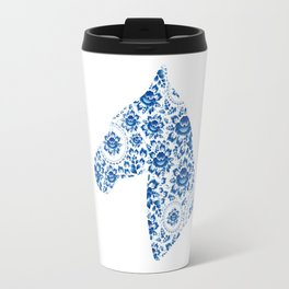 Silhouette of a beautiful horse's head with blue flowers Travel Mug