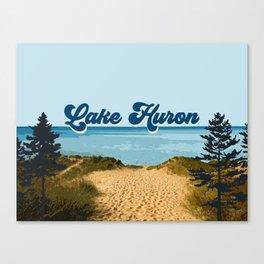 Lake Huron Retro Canvas Print