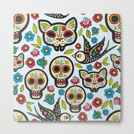 The day of the dead colorful pattern Metal Print