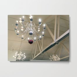 White Chandelier Metal Print