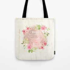 Typography A Mothers Heart Tote Bag