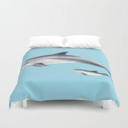 Blue Bottlenose dolphin Duvet Cover