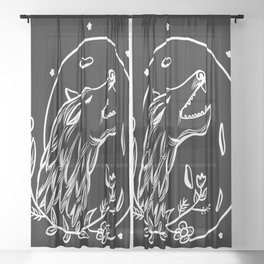 White Wolf and moon Sheer Curtain