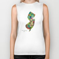 new jersey Biker Tanks featuring New Jersey state map by bri.buckley