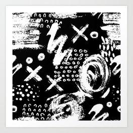 White chalk brush on black Art Print