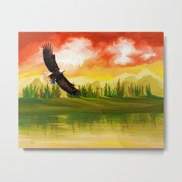 Bald Eagle Sunset Landscape (Color) Metal Print