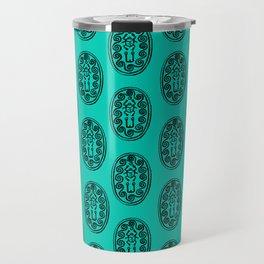 Ancient Egyptian Amulet Pattern Turquoise Blue Travel Mug