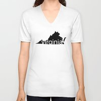 virginia V-neck T-shirts featuring Virginia by Isabel Moreno-Garcia