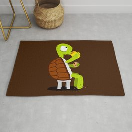 Turtle drinking tea with cookies. Rug