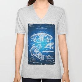 Football Shoulder Pads Paten Blueprint Drawing Blue Unisex V-Neck
